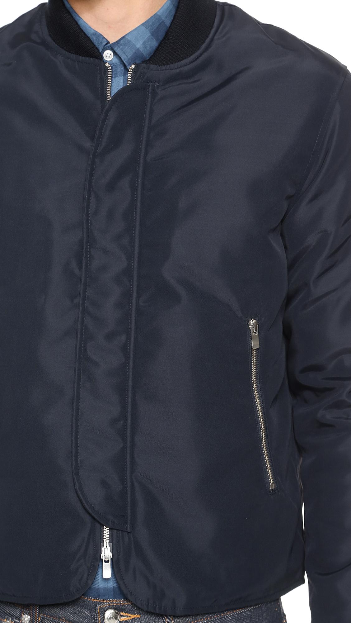 Officine Generale Nylon Bomber Jacket in Navy (Blue) for Men