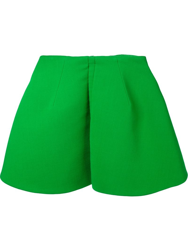 delpozo crepe pleated a line skirt in green lyst