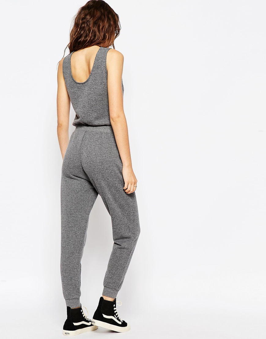 67ec4b35aea6 Lyst - ASOS Casual Vest Jumpsuit With Drawstring Waist in Gray