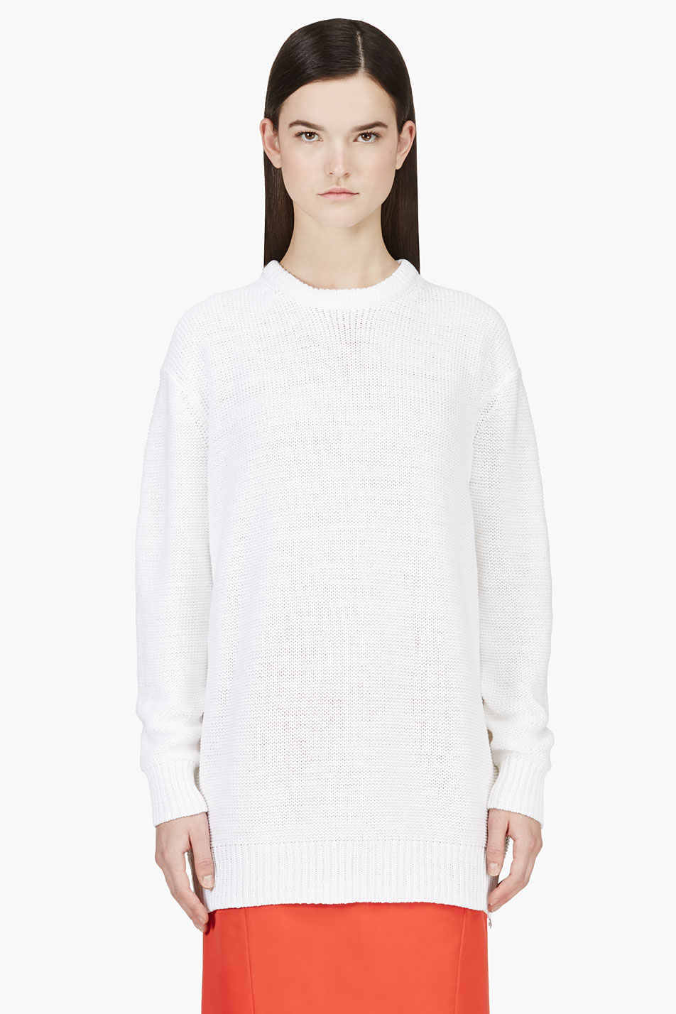 acne studios white oversize knit sade sweater in white lyst. Black Bedroom Furniture Sets. Home Design Ideas