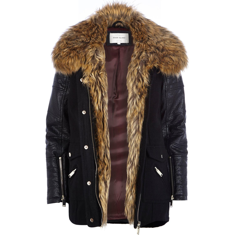 River Island Black Faux Fur Collar Wool Parka Jacket In