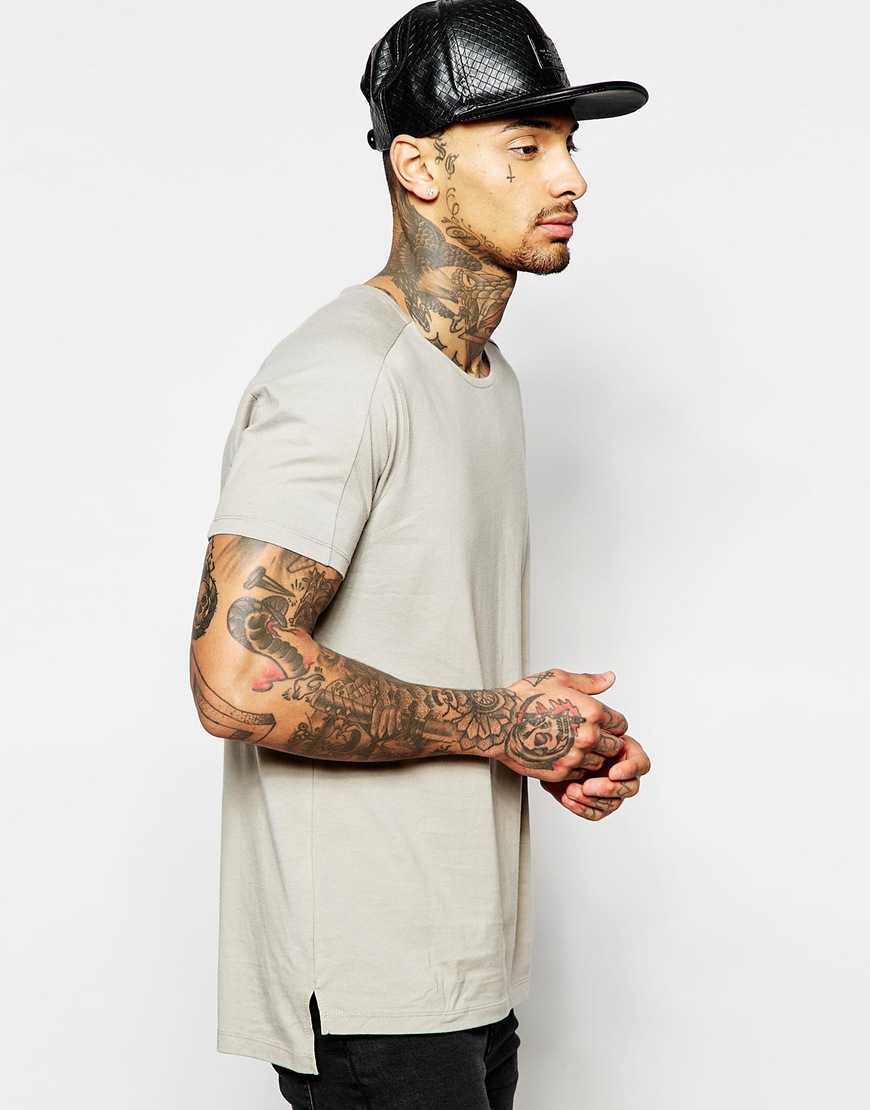 bad7a9ba982054 Lyst - Asos Longline T-shirt With Boat Neck And Step Hem With Heavy ...