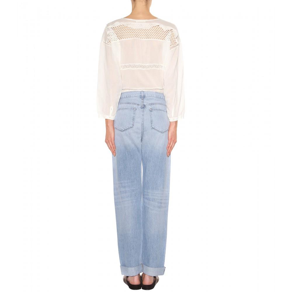 lyst j brand johnny oversize boyfriend jeans in blue. Black Bedroom Furniture Sets. Home Design Ideas