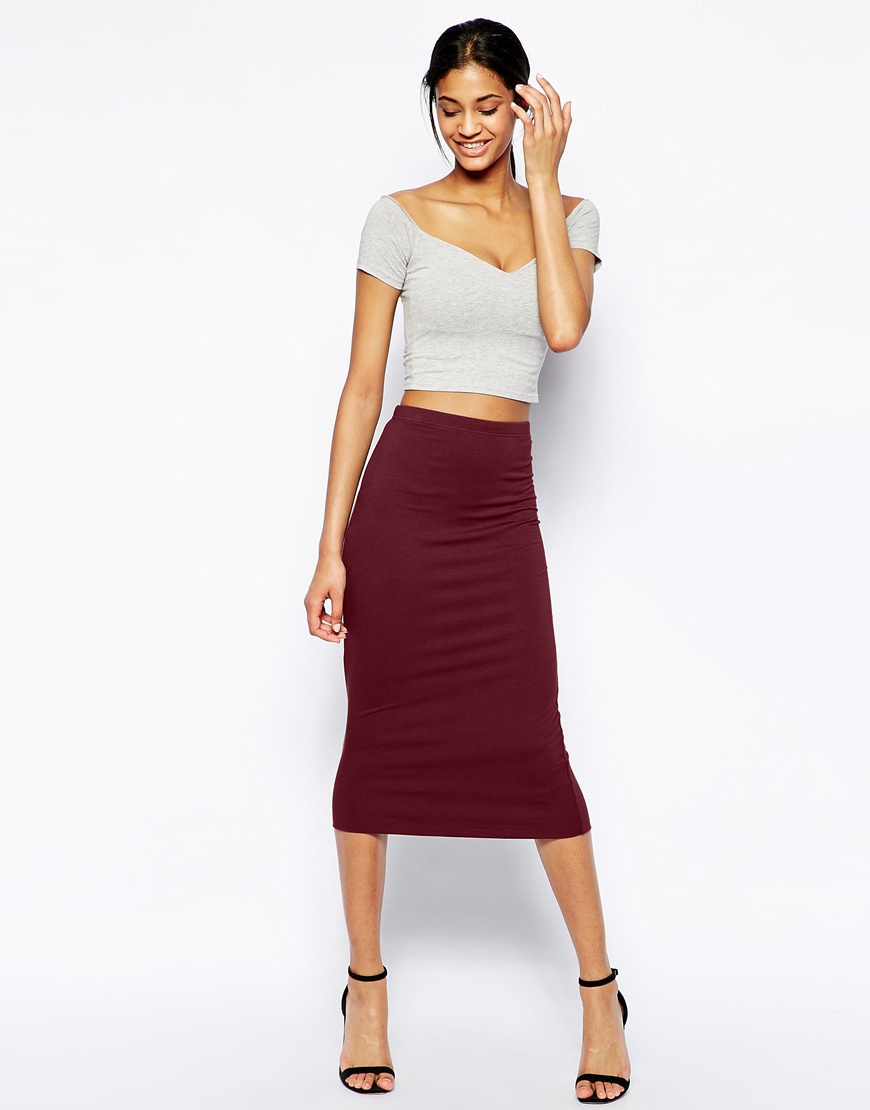 asos pencil skirt in layered jersey in purple lyst