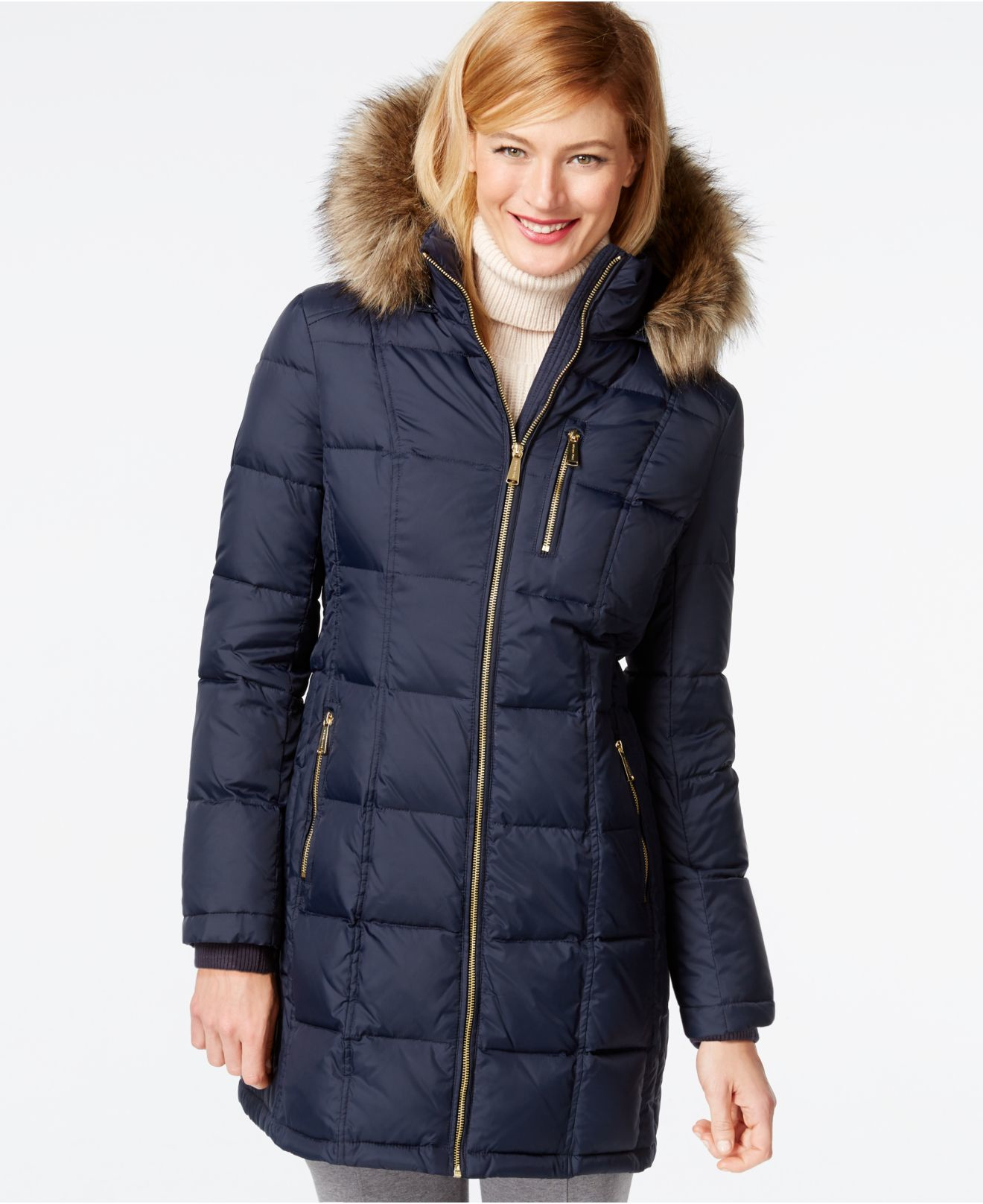Michael Kors Michael Faux Fur Trim Quilted Down Coat In