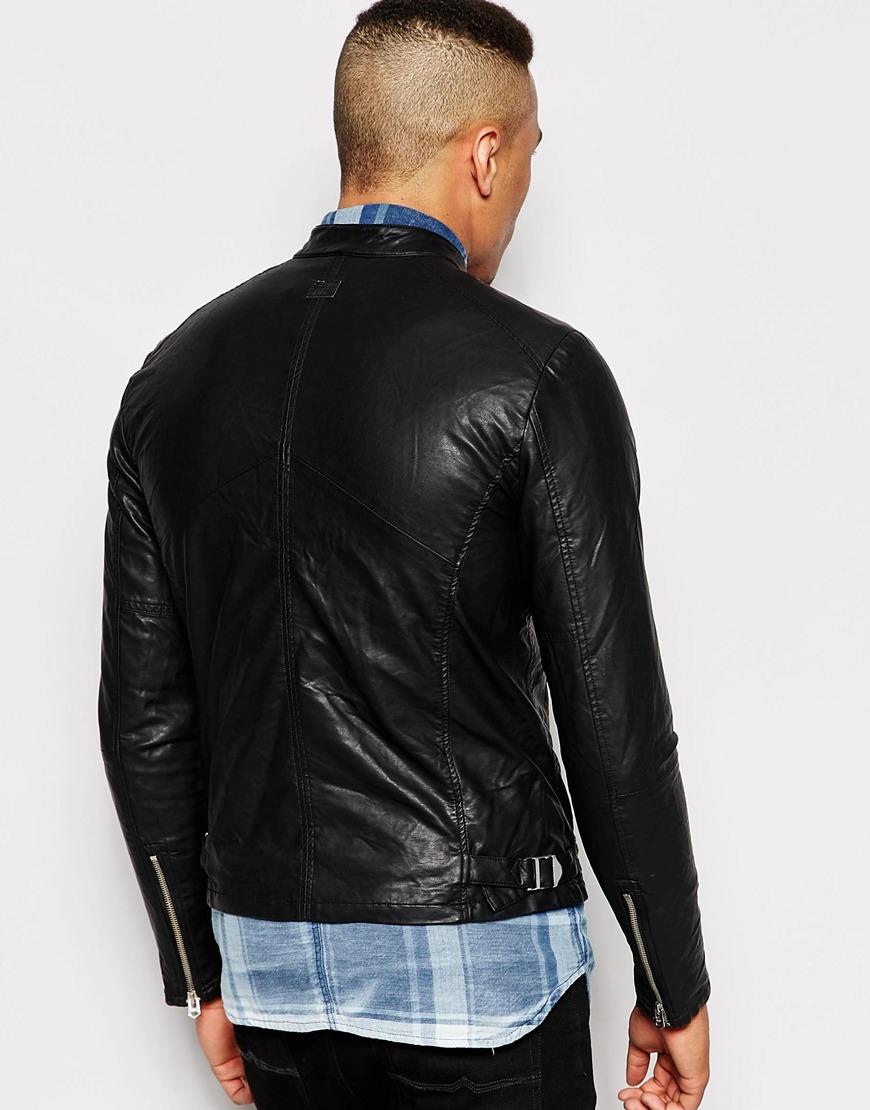 g star raw biker jacket edla faux leather in black for men. Black Bedroom Furniture Sets. Home Design Ideas