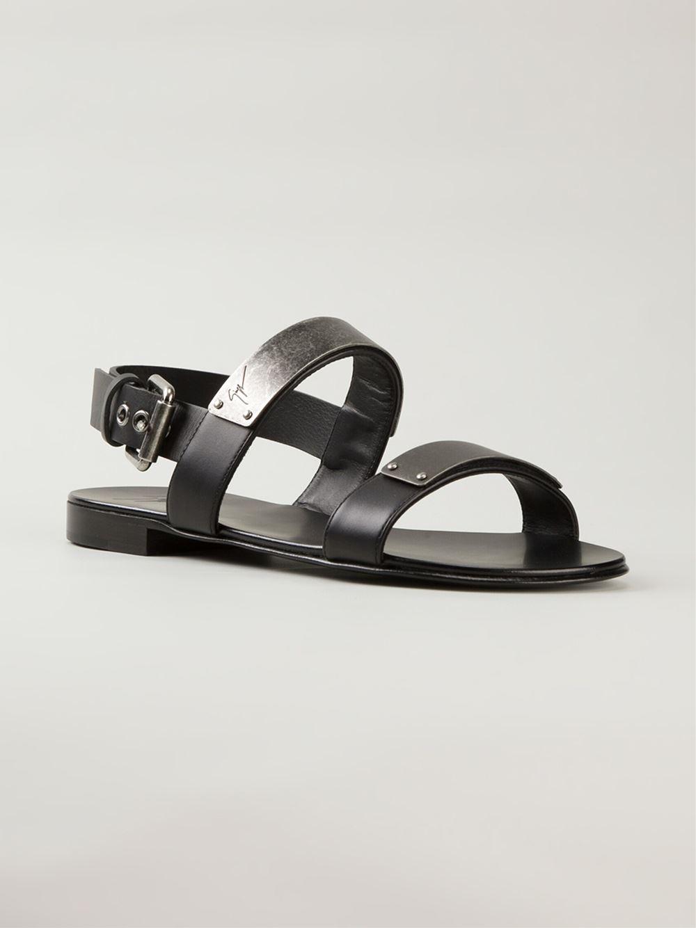 Giuseppe Zanotti Silver Plaque Double Strap Sandals In