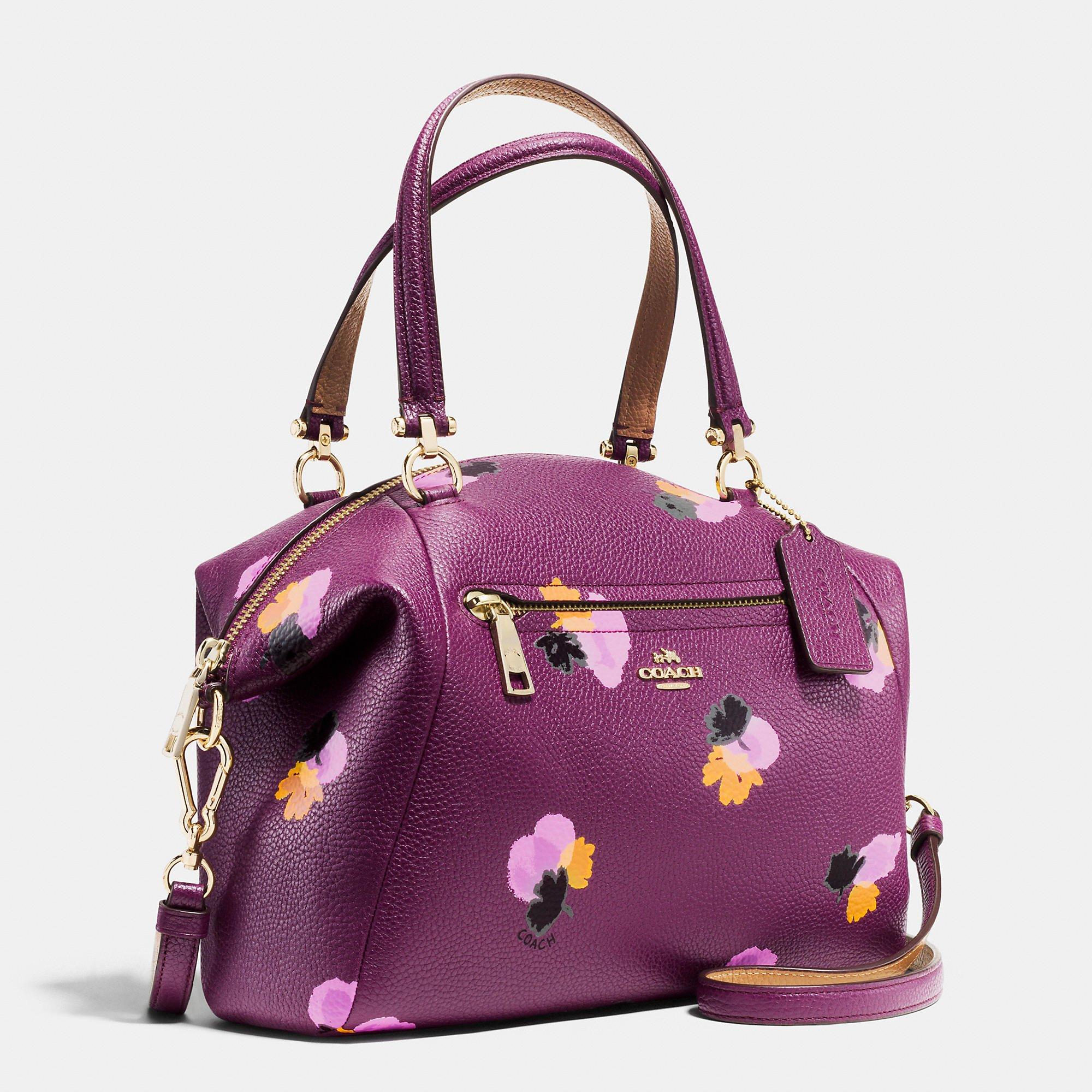 Coach Prairie Satchel In Floral Print Leather In Purple