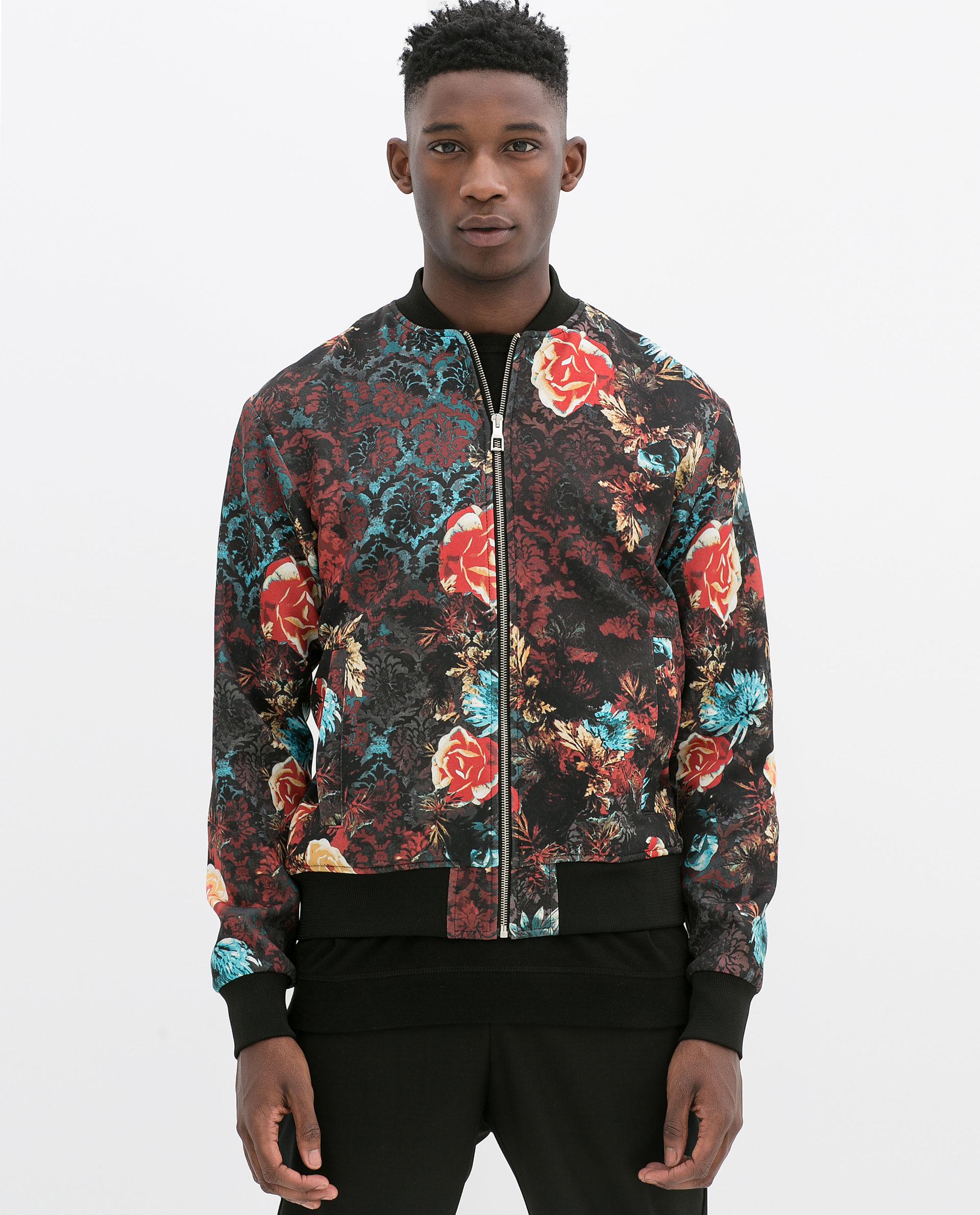 Zara Flower Bomber Jacket in Black for Men | Lyst