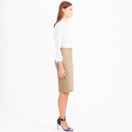 j crew pencil skirt in stretch cotton in beige dusty