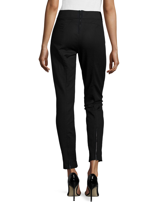 Beautiful Pants Zipper Pockets Women Leather Pants Lady Motorcycle Riding Pants