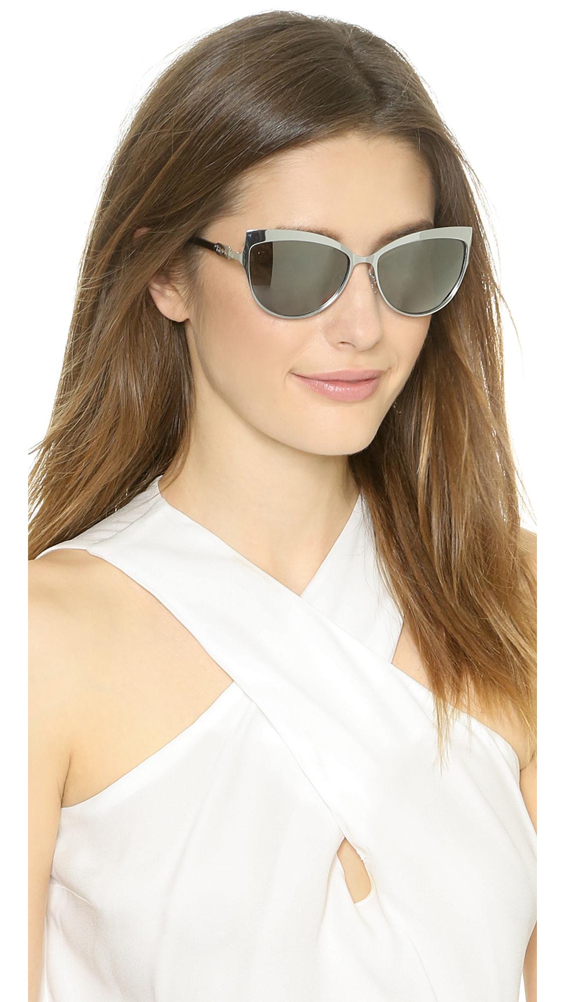 Mcq Metal Cat Eye Sunglasses Palladium Black Lyst