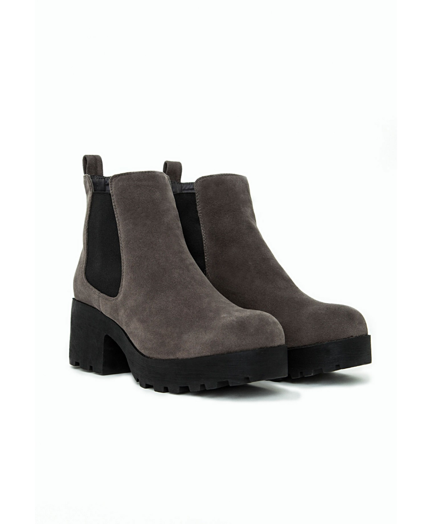 Missguided Lana Faux Suede Cleated Sole Chelsea Boots Grey in Grey