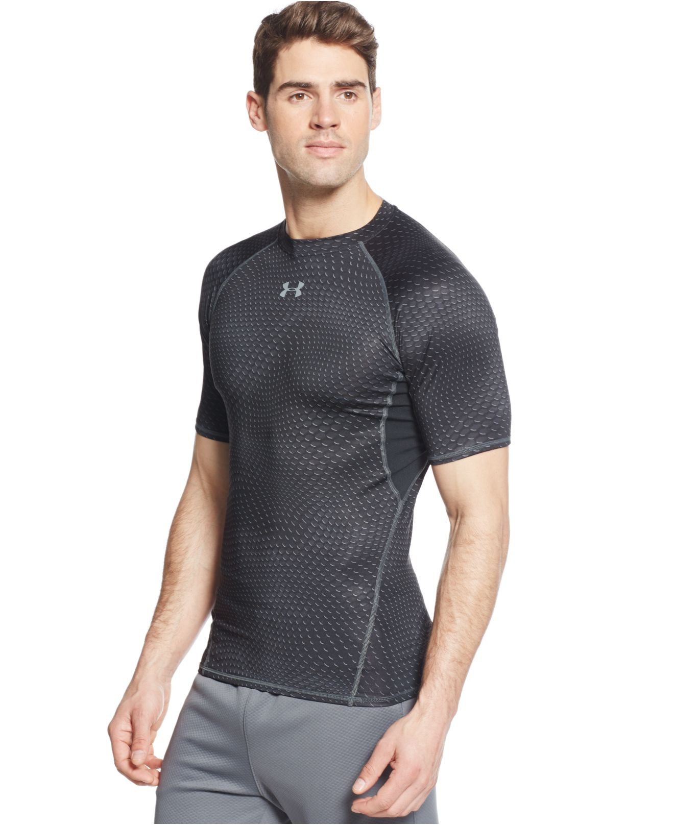 Under armour printed heatgear compression t shirt in black for Compressed promotional t shirts