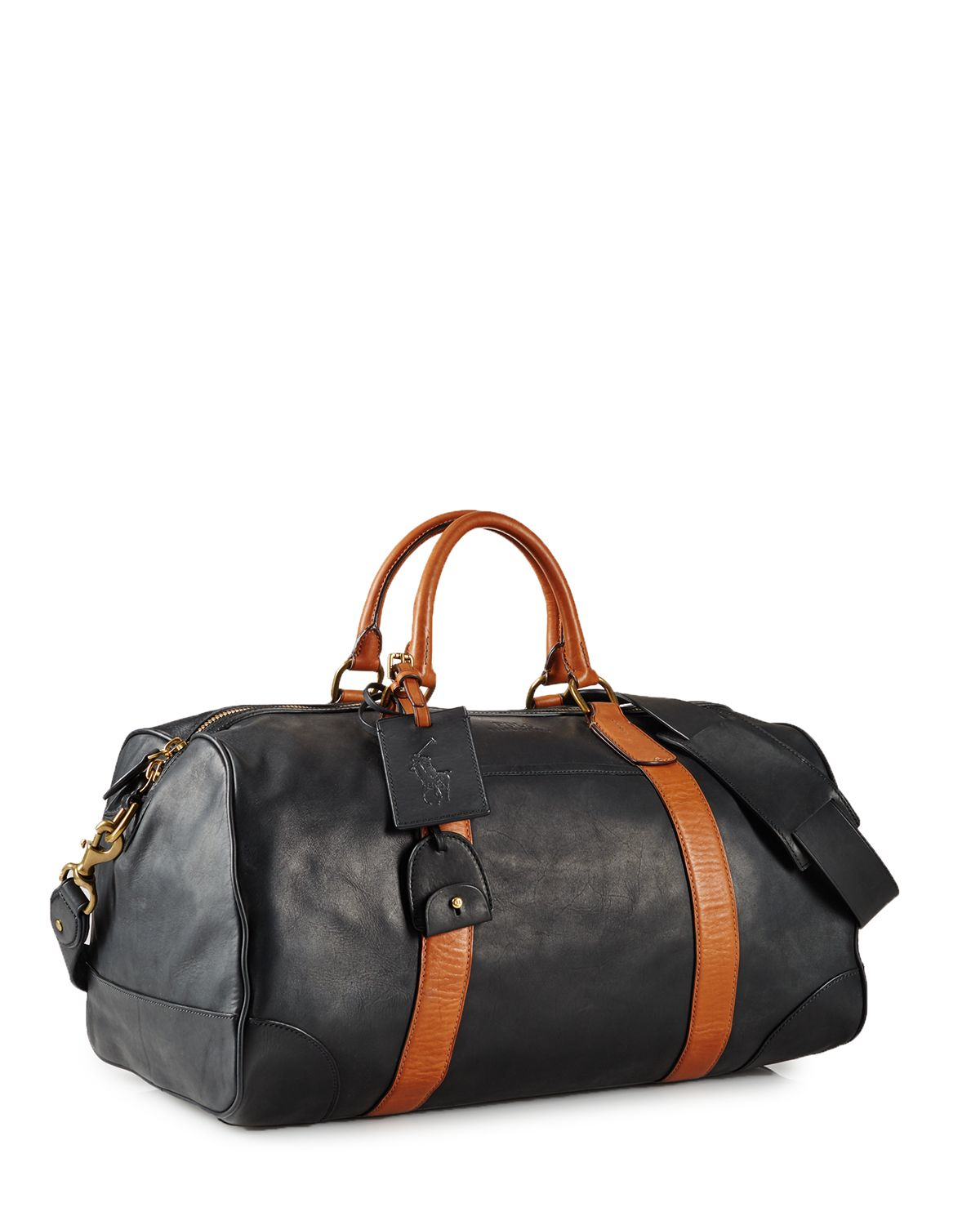 pink pony polo two toned leather duffel bag in black for men lyst. Black Bedroom Furniture Sets. Home Design Ideas