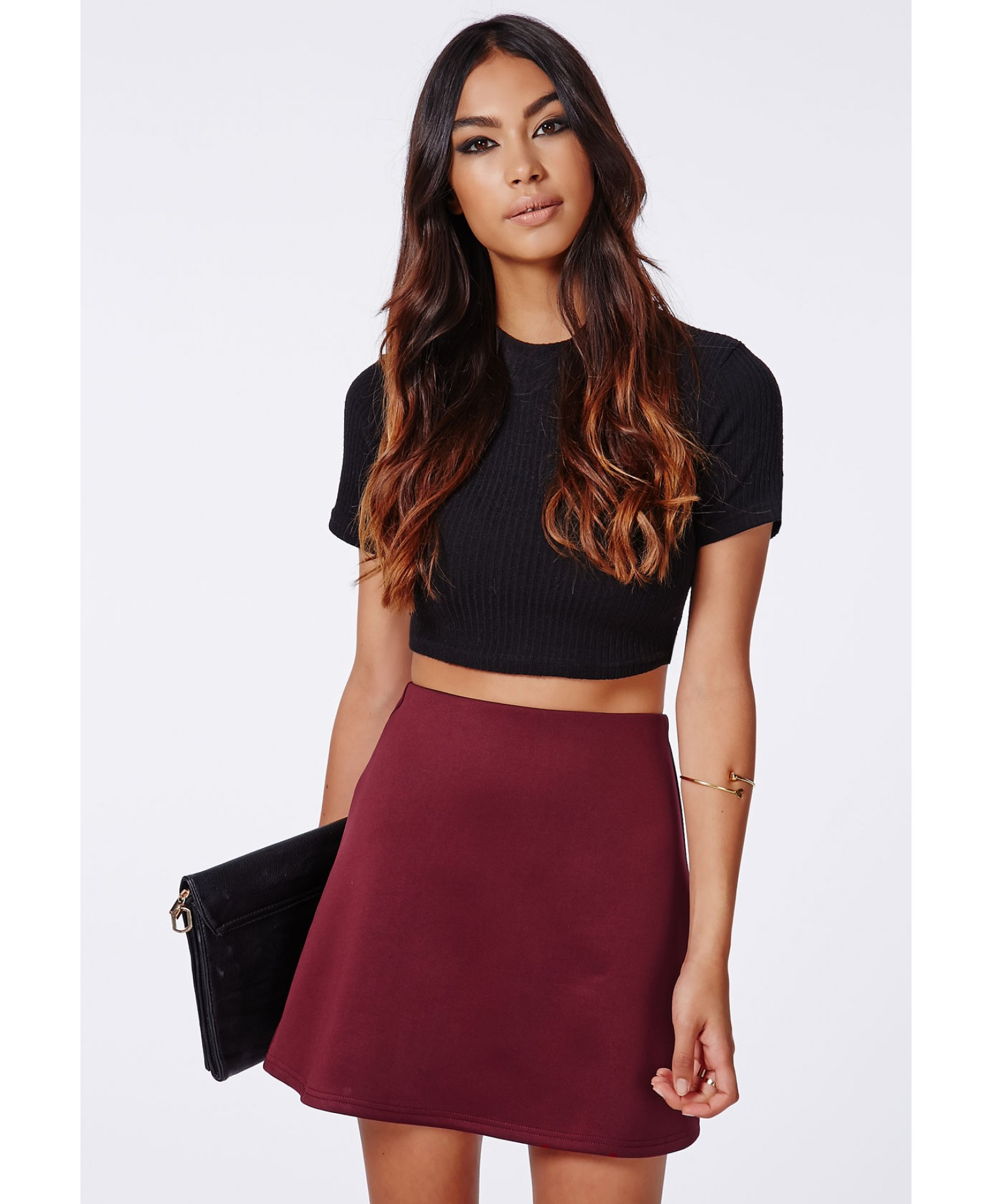 Missguided Lubiana Scuba A Line Skirt Burgundy in Purple | Lyst