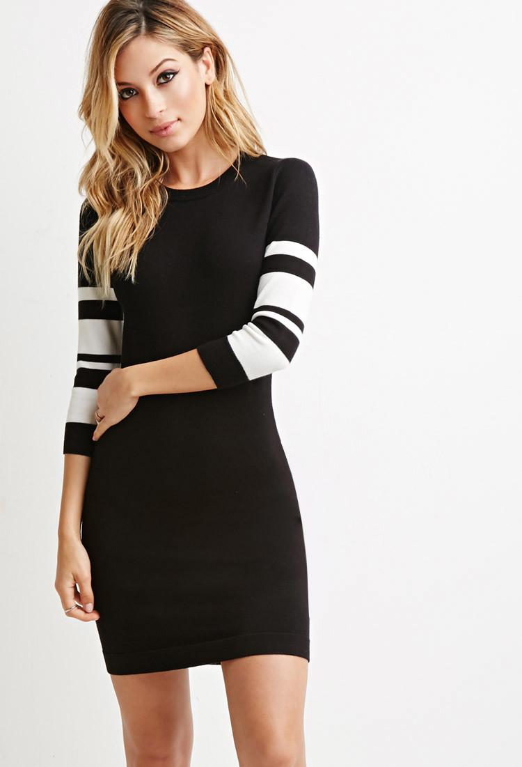 forever 21 stripedsleeve bodycon dress in black lyst