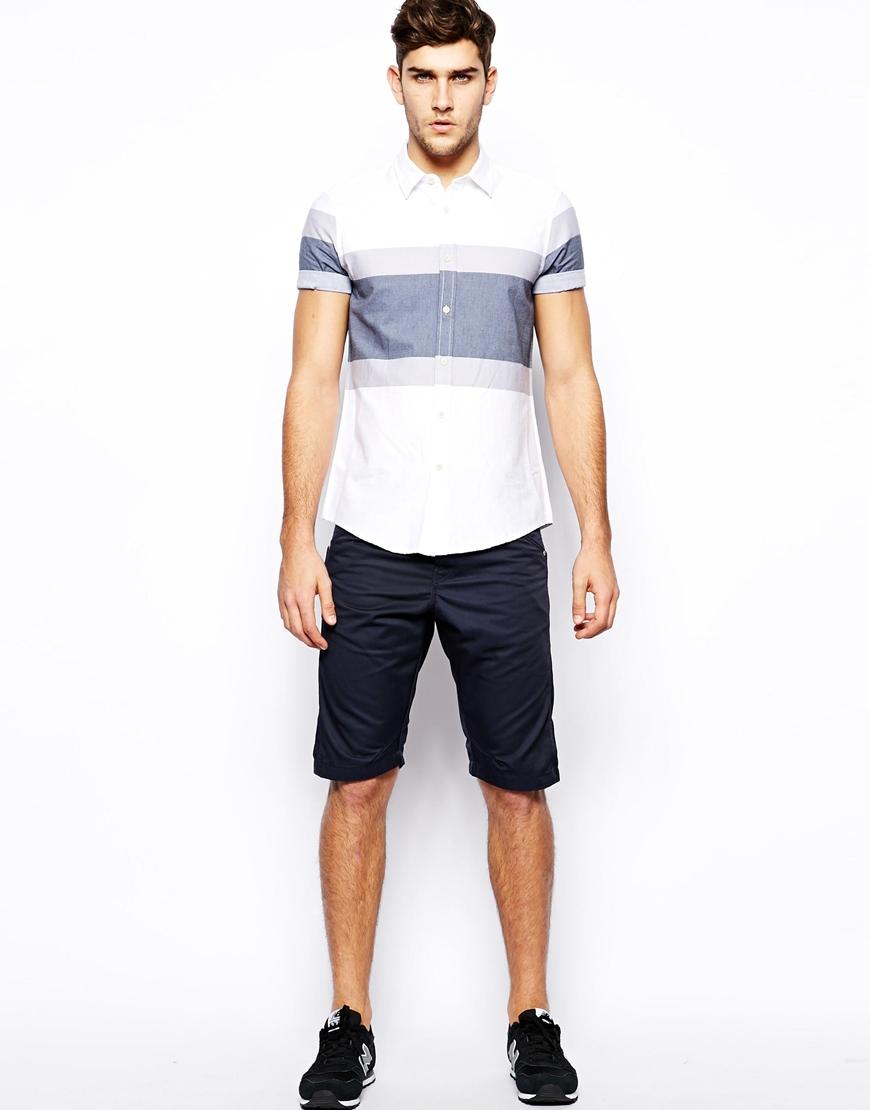 jack jones dale colin chino shorts in blue for men. Black Bedroom Furniture Sets. Home Design Ideas
