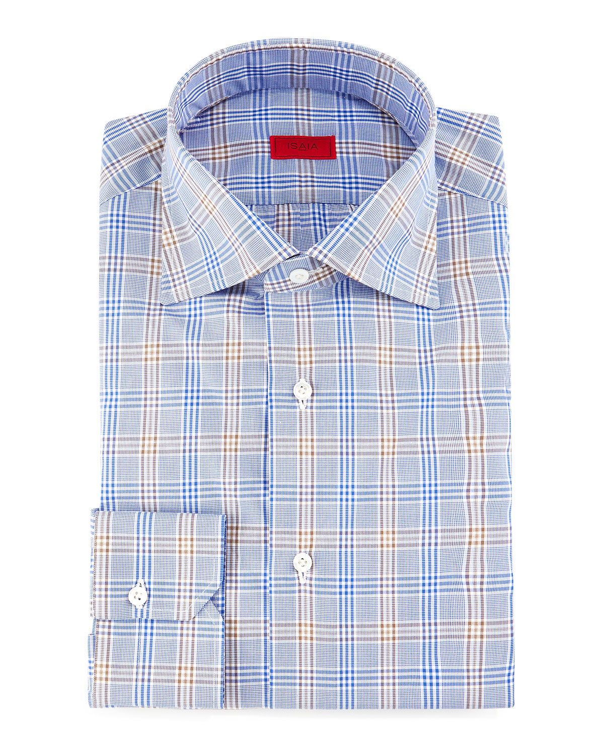 Lyst isaia check dress shirt in blue for men for Blue check dress shirt
