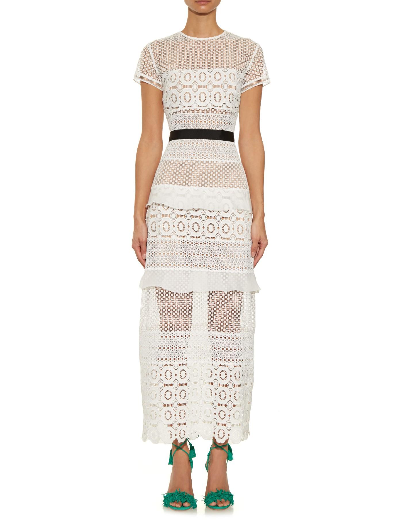 Oblique Lace Column Dress