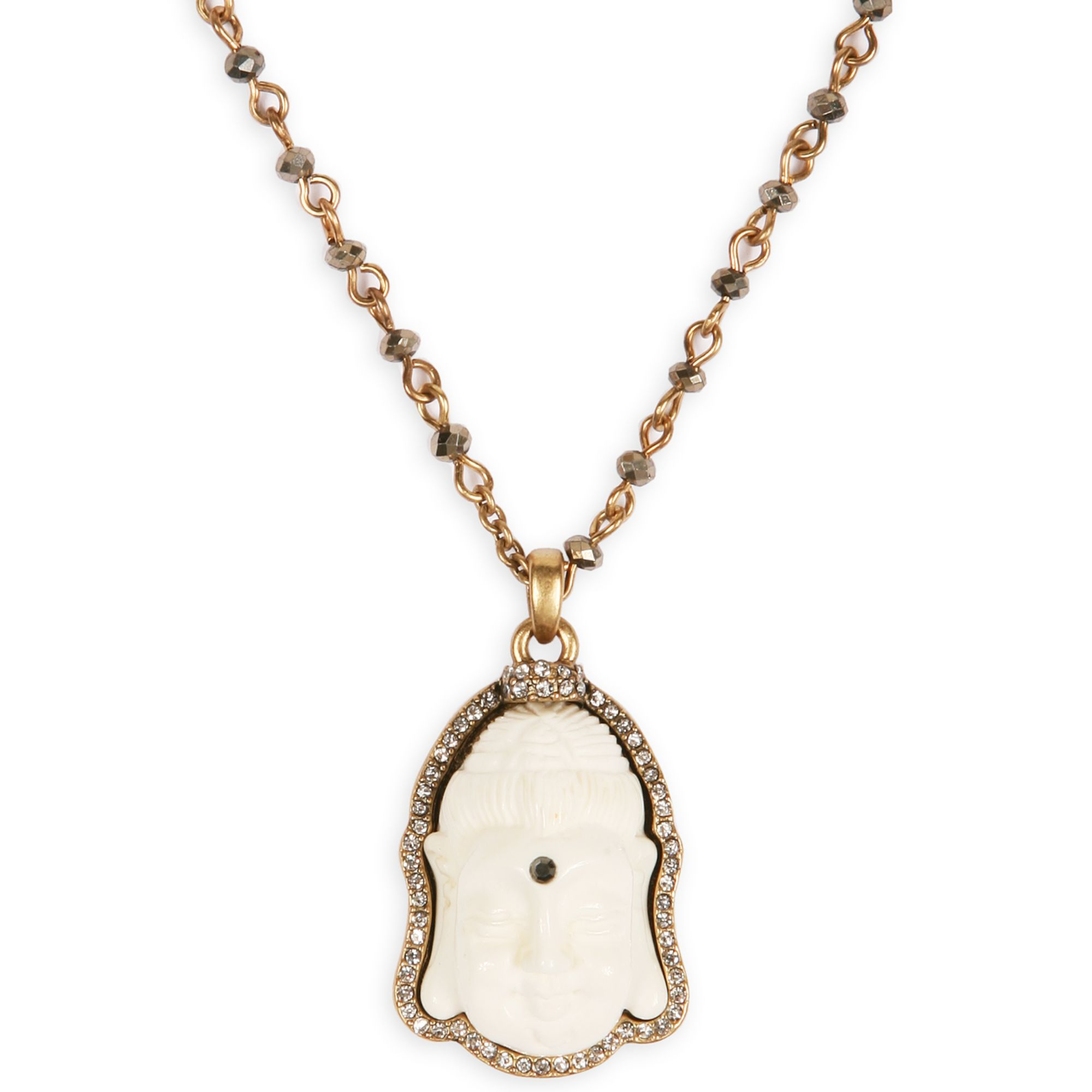 Lucky Brand Goldtone Buddha Charm Long Necklace In Gold Lyst