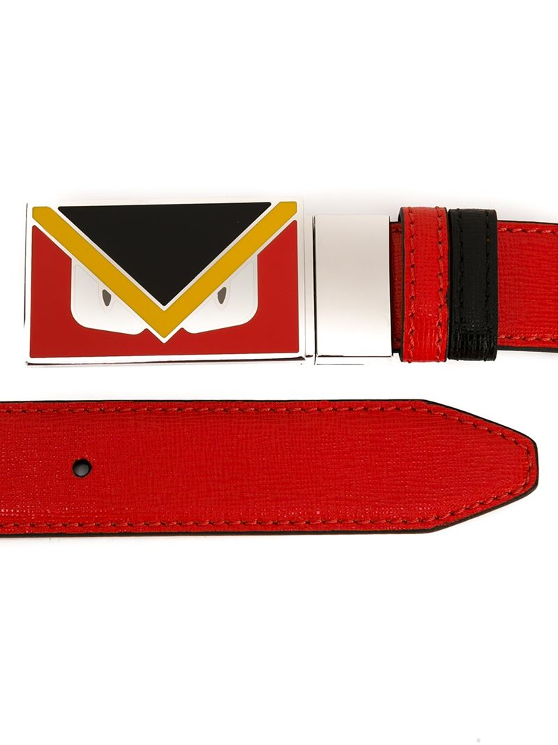 Fendi Bag Bugs Buckle Belt In Red For Men Lyst