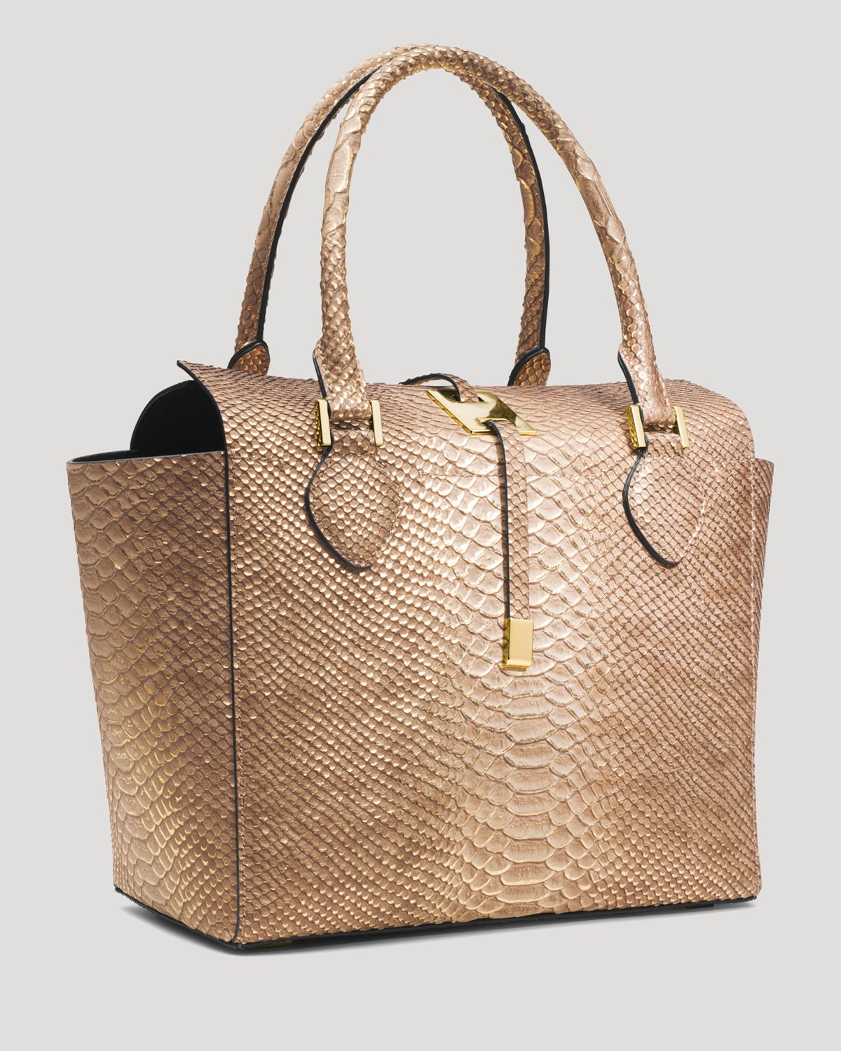 5297d3a796ce new zealand lyst michael kors tote miranda embossed python in brown 008f7  62710