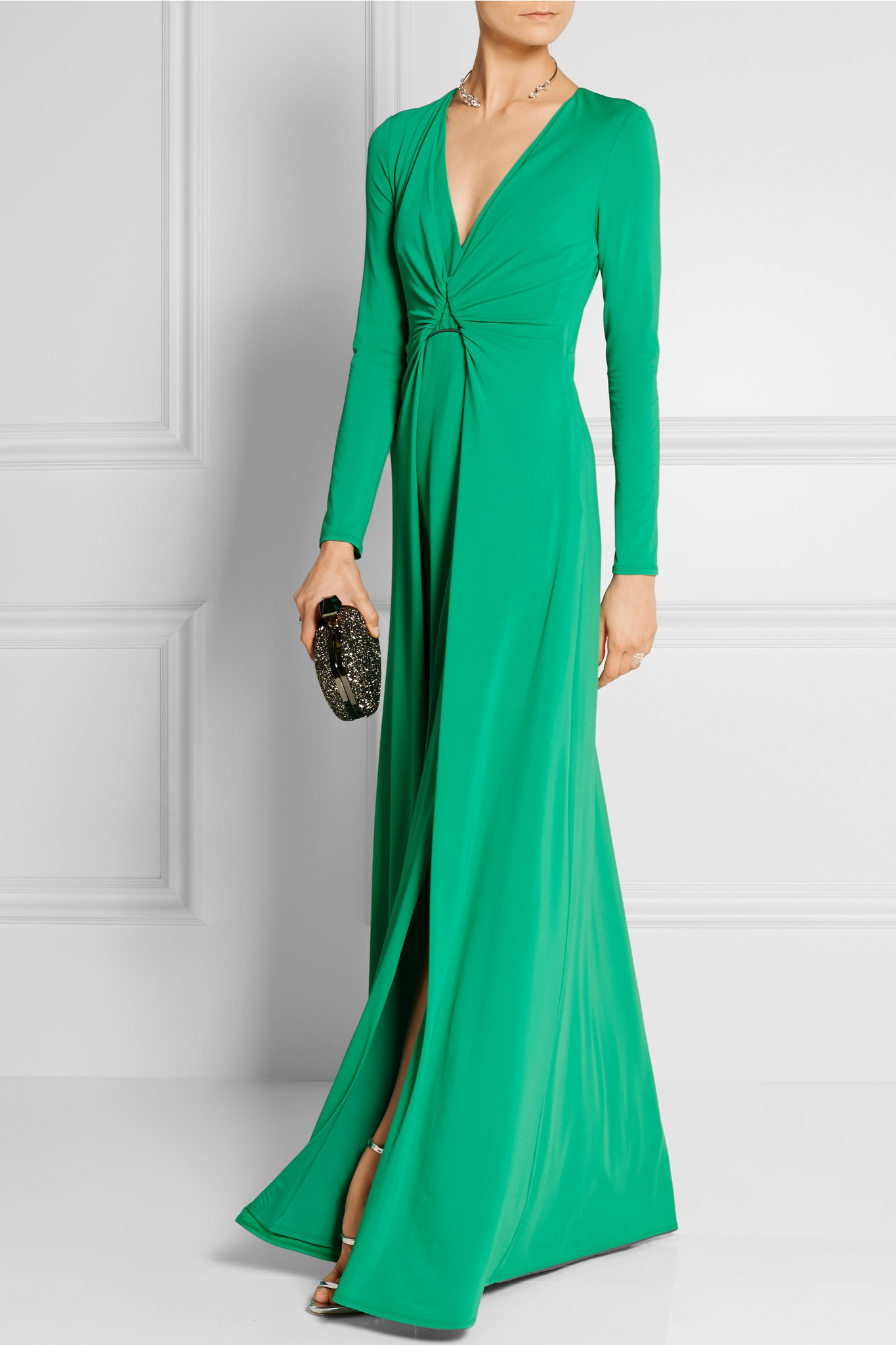 Lyst halston draped stretch jersey gown jade in blue for Halston heritage shirt dress