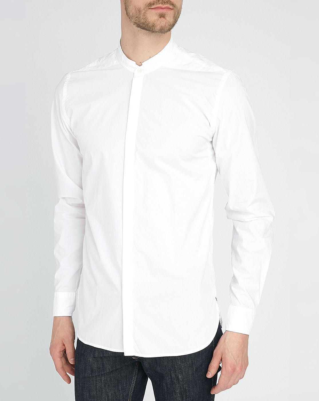 Homecore white kader grandad collar poplin shirt in white Mens grandad collar shirt