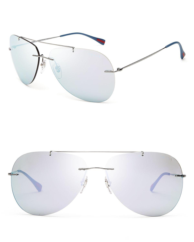 89d96669d9eb ... france lyst prada mirrored aviator sunglasses in gray for men 707e9  41b21