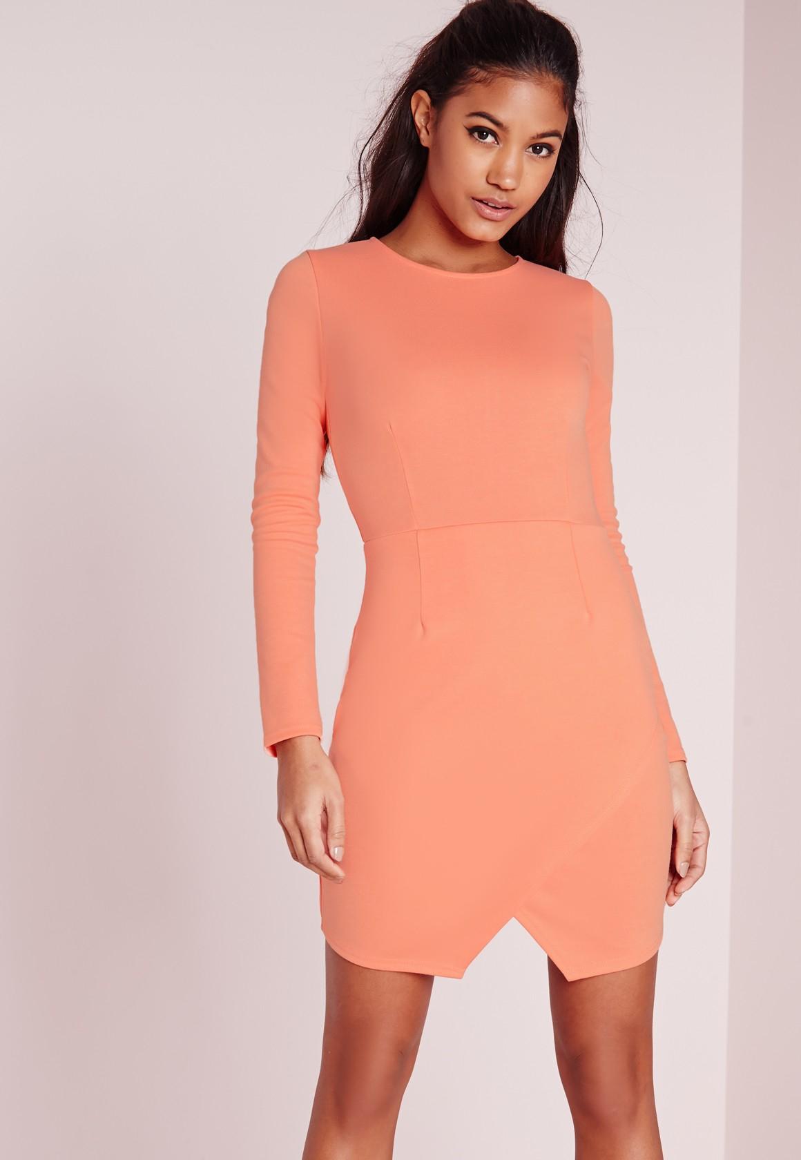 54e1e8a88587 Lyst - Missguided Long Sleeve Wrap Hem Bodycon Dress Salmon in Orange