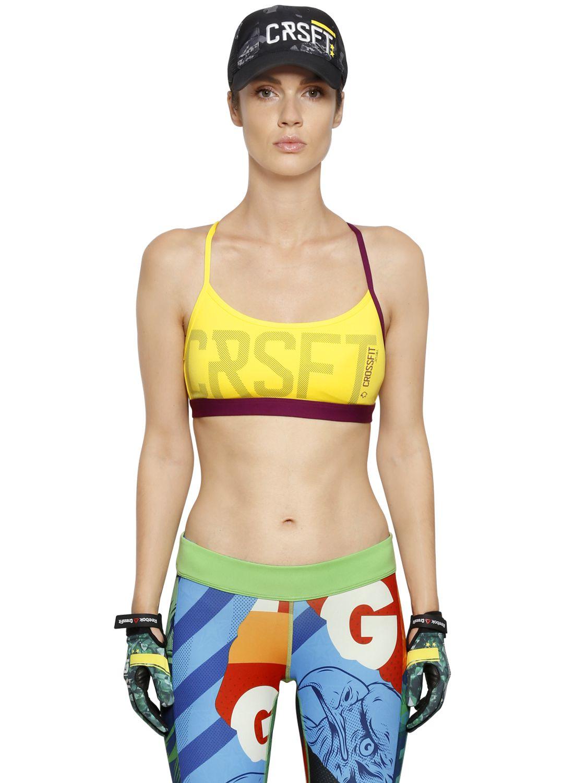 6d06e1f3d2a34 Lyst - Reebok Crossfit Tech Jersey Sports Bra in Yellow