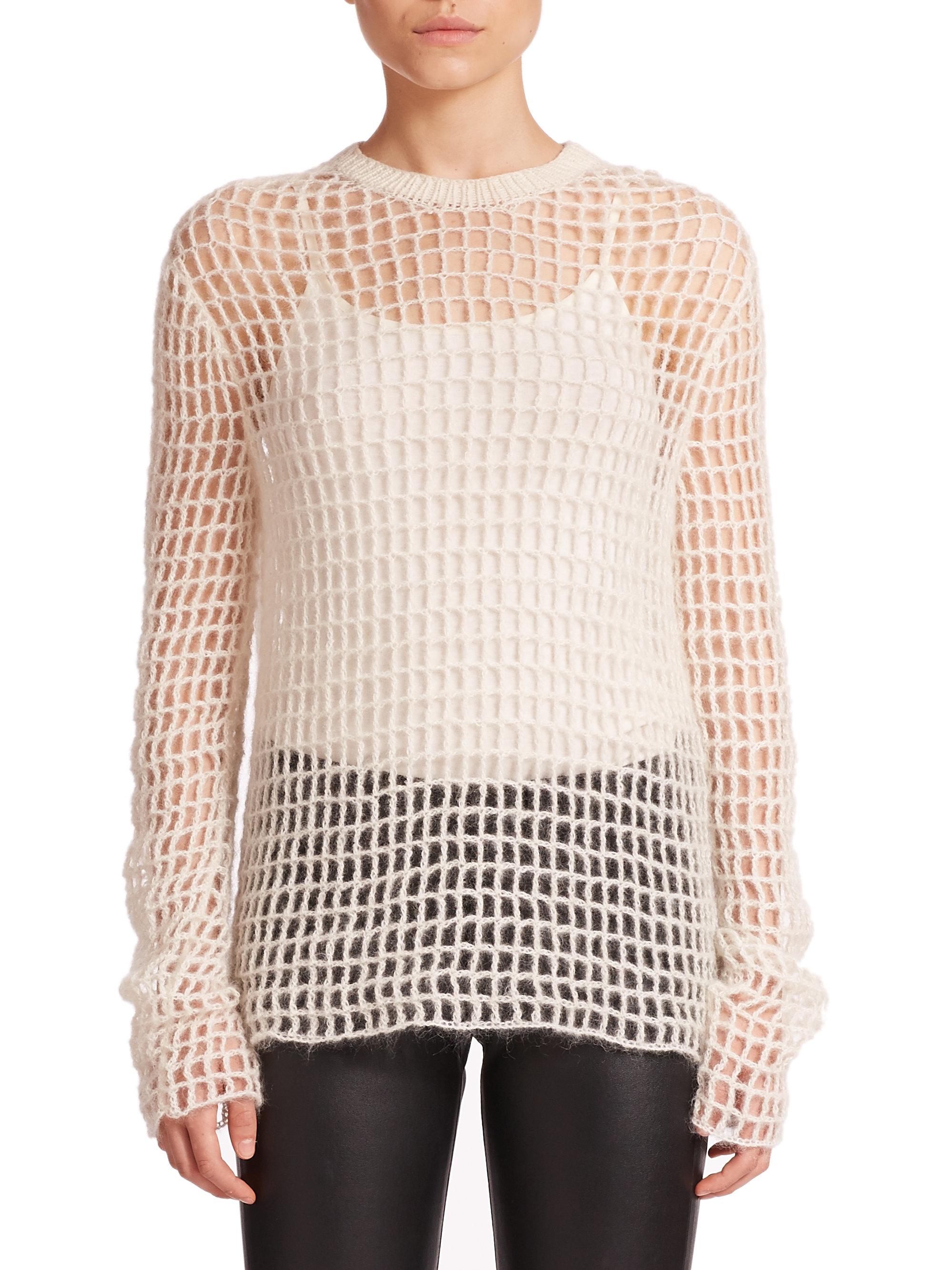 5be0712fae033 Lyst - Helmut Lang Hand-knit Crochet Sweater in White