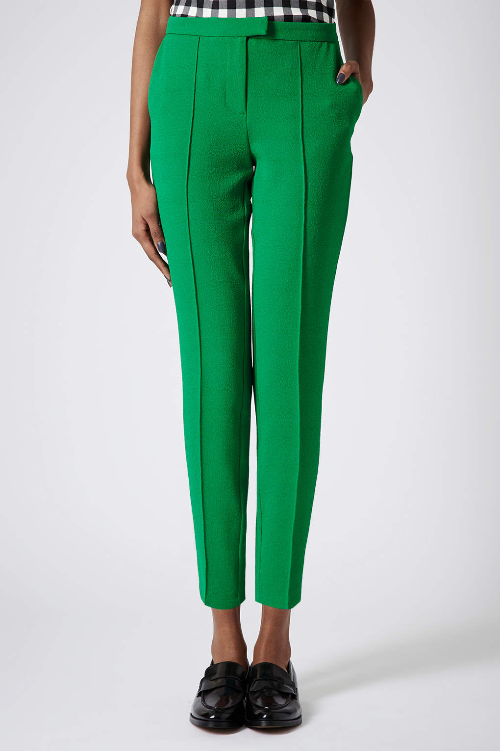 Lyst Topshop Crepe Cigarette Trousers In Green