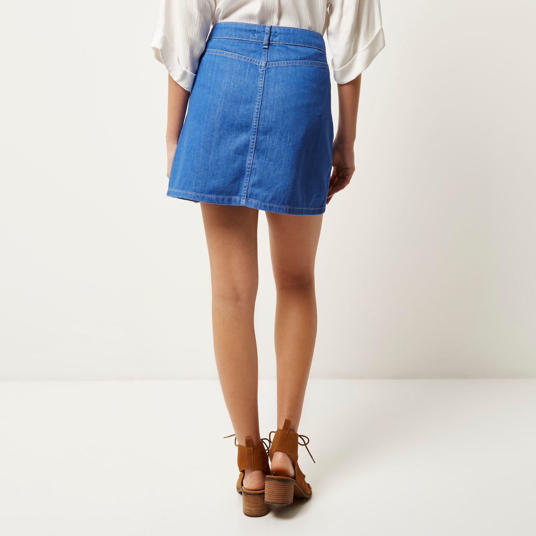 river island blue denim zip up skirt in blue lyst