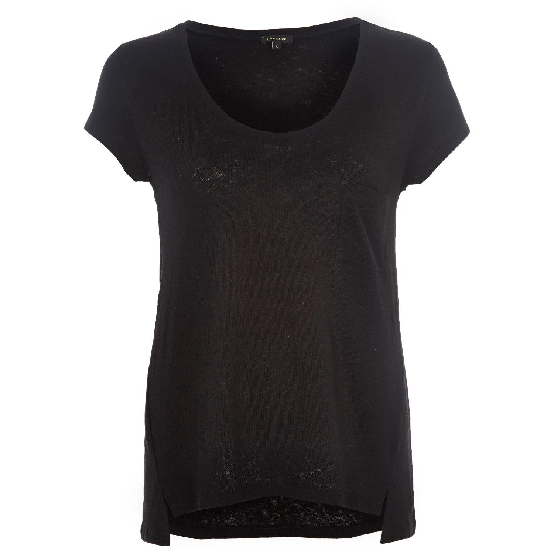 River Island Black Linen Low Scoop Neck T Shirt In Black
