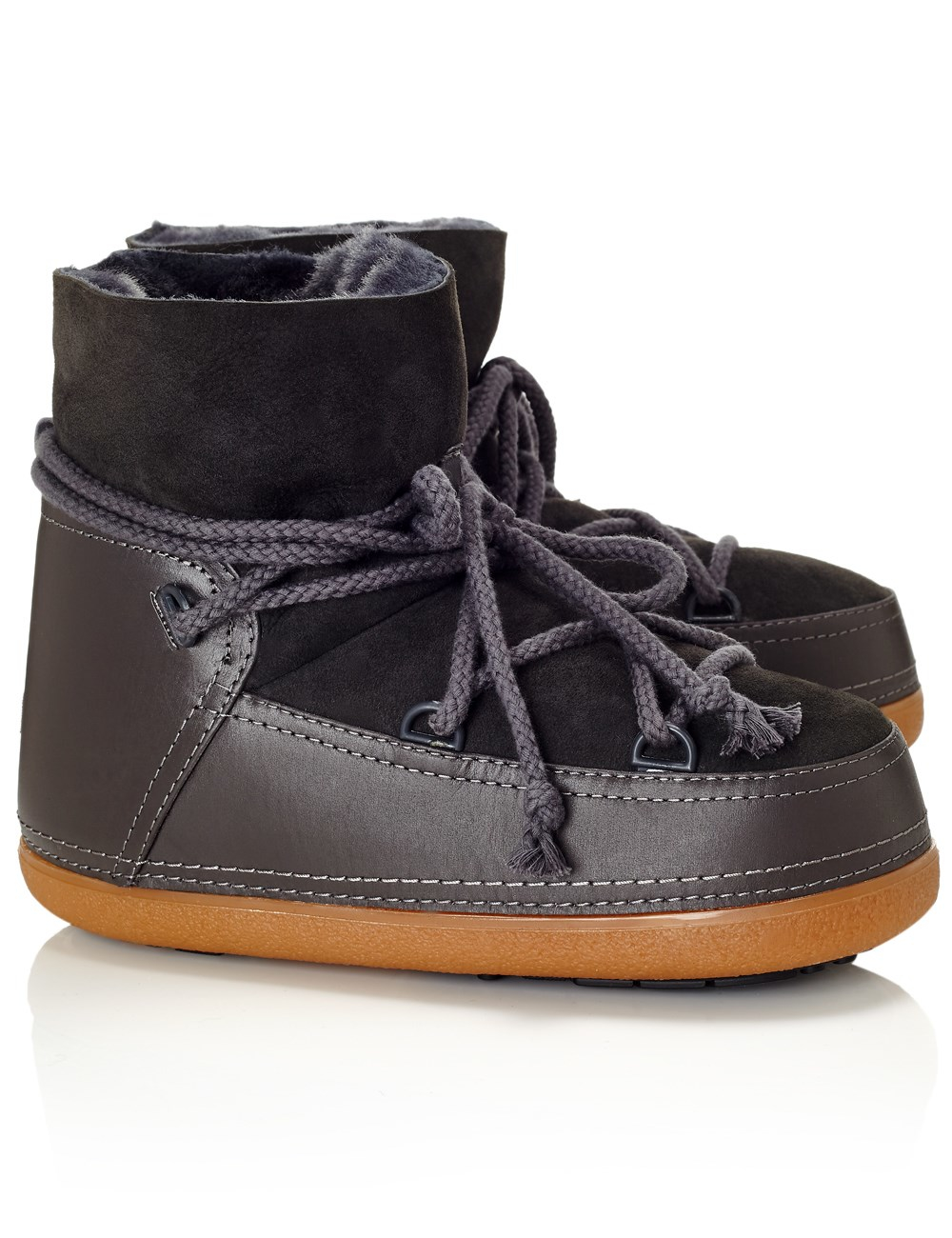 Ikkii Leather and Suede Snow Boots in Gray | Lyst