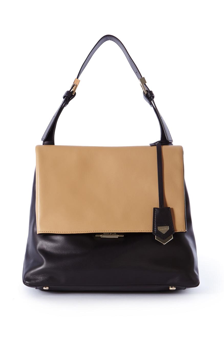 d7a007efcf Karen Millen Two-tone Medium Leather Tote in Black - Lyst