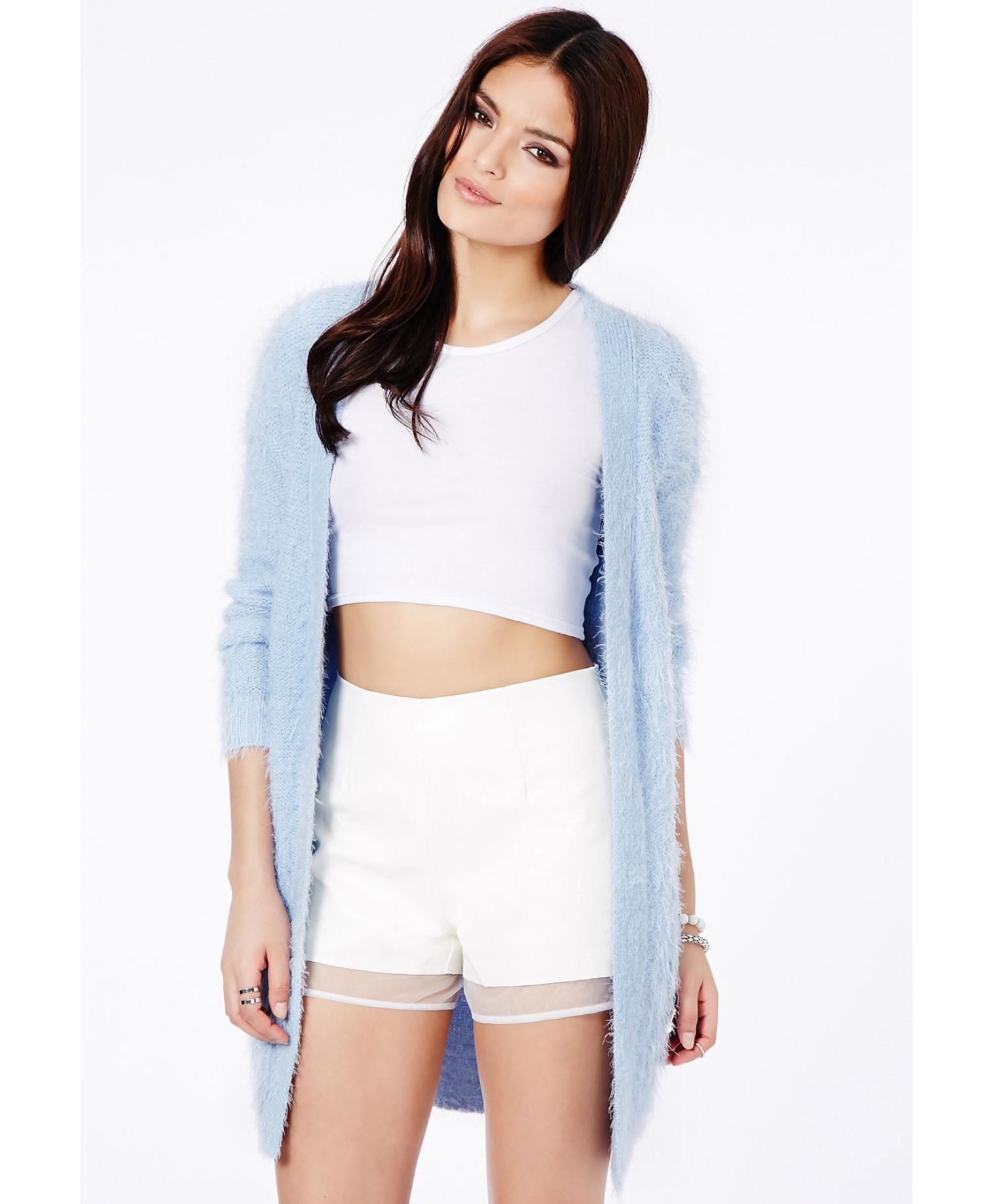 481261c046ed Missguided Satomi Eyelash Knit Cardigan in Baby Blue in Blue - Lyst