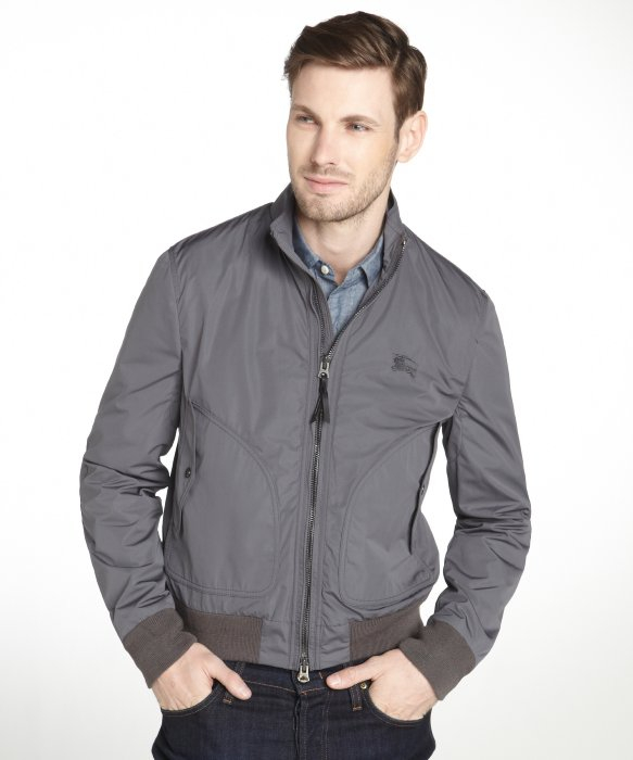 Burberry Brit Light Grey Bomber Jacket in Gray for Men | Lyst