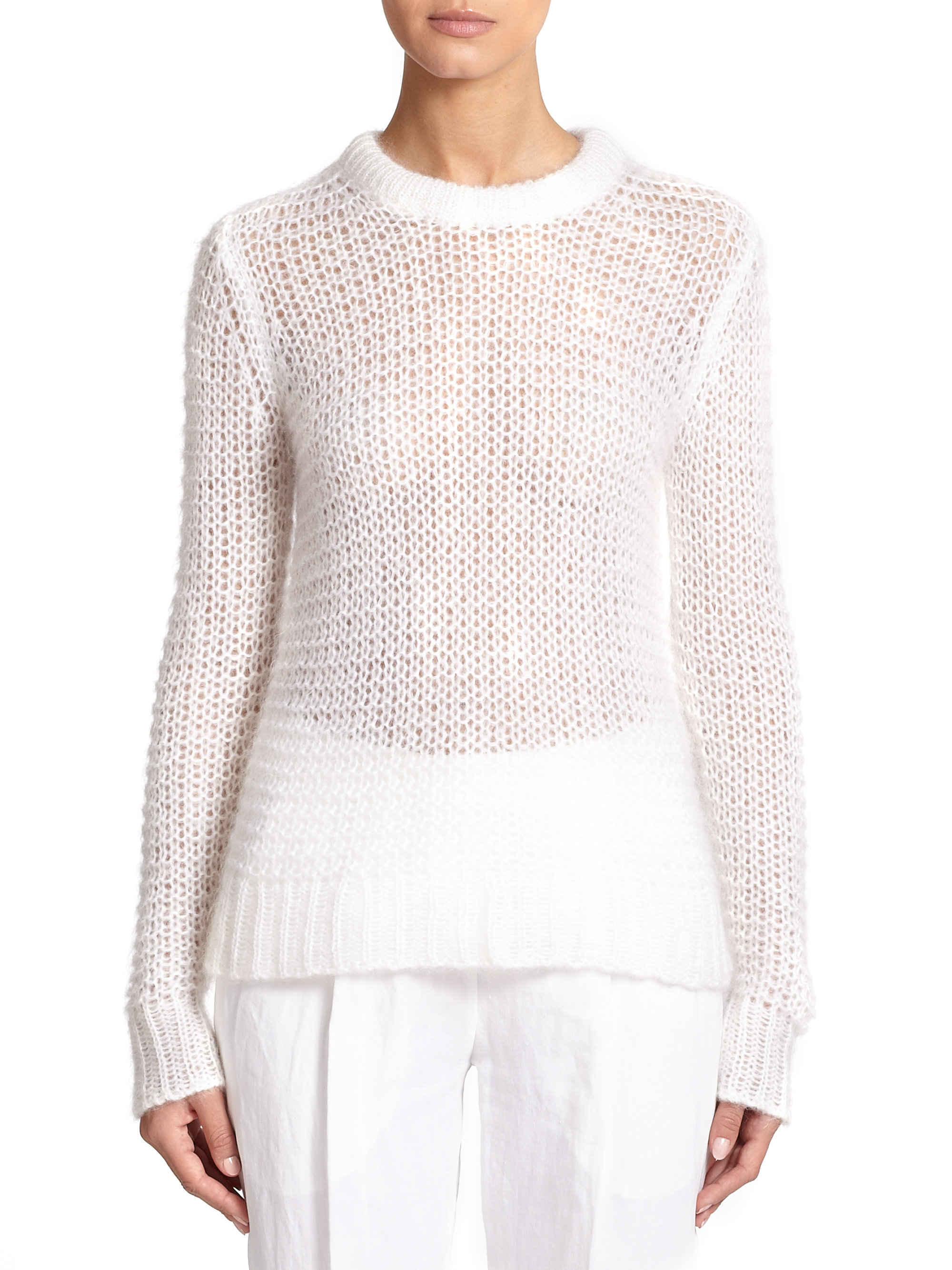 michael kors mohair open knit sweater in white lyst. Black Bedroom Furniture Sets. Home Design Ideas