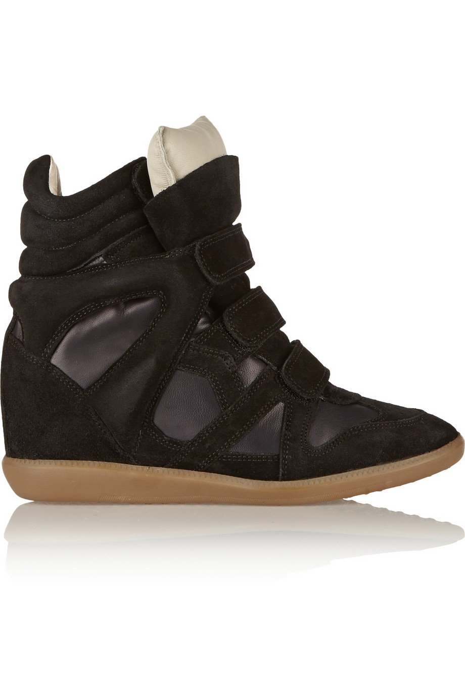 isabel marant burt suede and leather wedge sneakers in black lyst. Black Bedroom Furniture Sets. Home Design Ideas