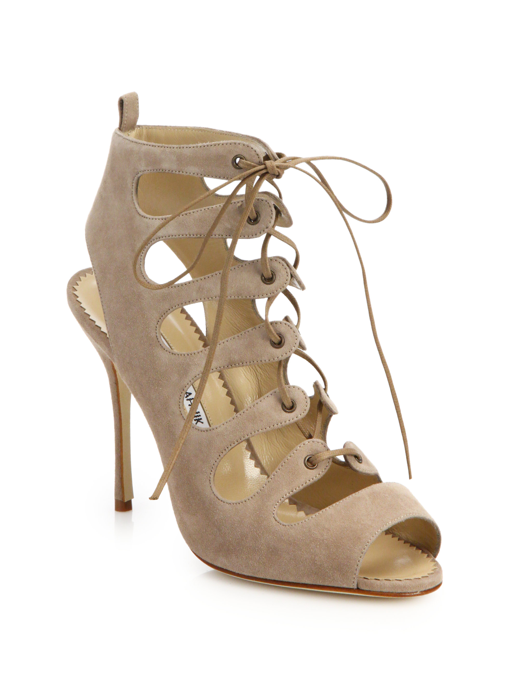 discount sast Manolo Blahnik Cutout Lace-Up Sandals new styles cheap pre order v6Wk5Z