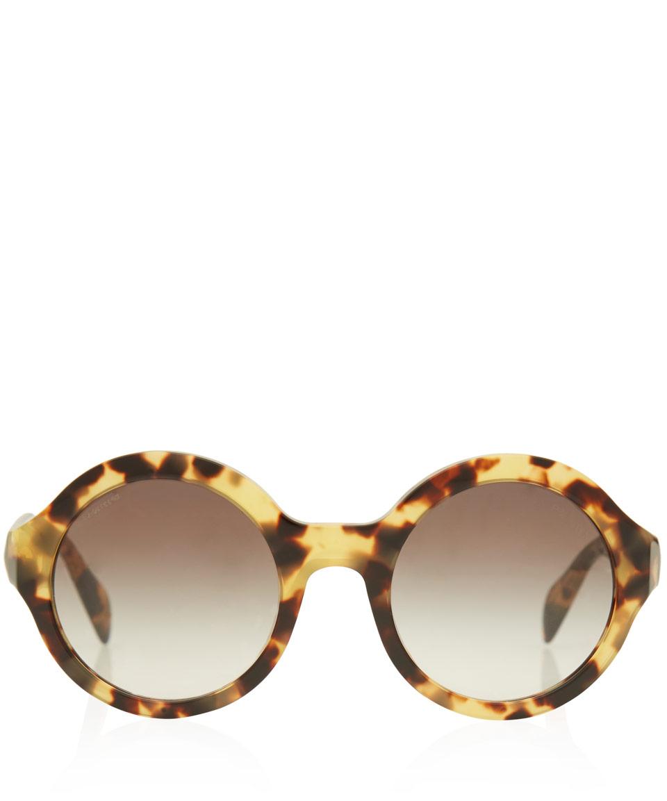Prada Round Sunglasses  prada tortoises oversized round frame acetate sunglasses in