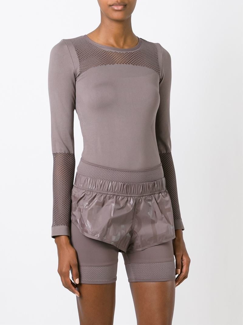 wholesale dealer 5cf6e e84e3 Lyst - adidas By Stella McCartney Mesh Panel Top in Gray