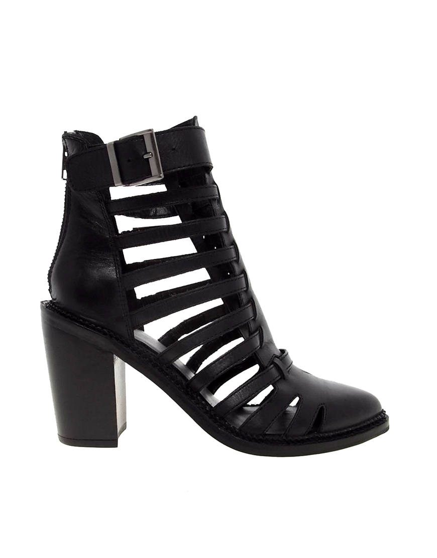 asos alist leather boots in black lyst