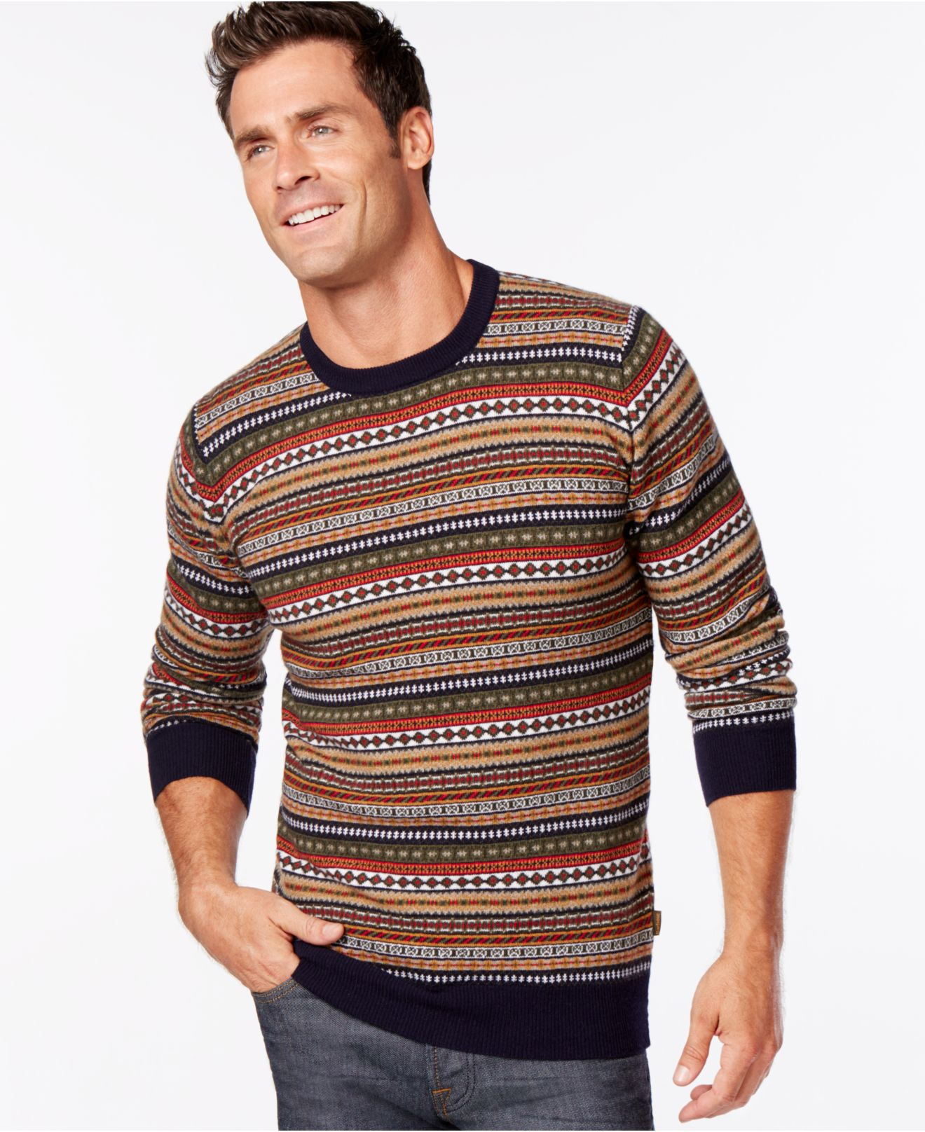 Barbour Easton Fair Isle Crew-neck Sweater in Blue for Men | Lyst