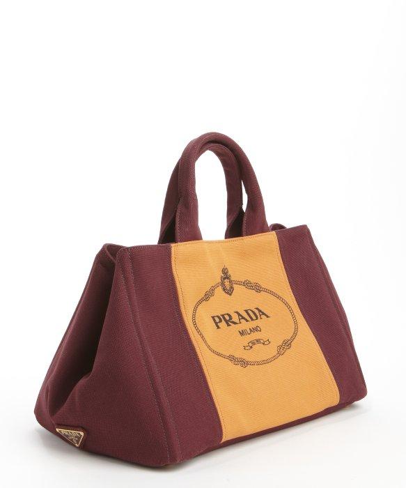 3a145447c9 Prada Burgundy Orange Canvas Logo Crossbody Top Handle Bag in .