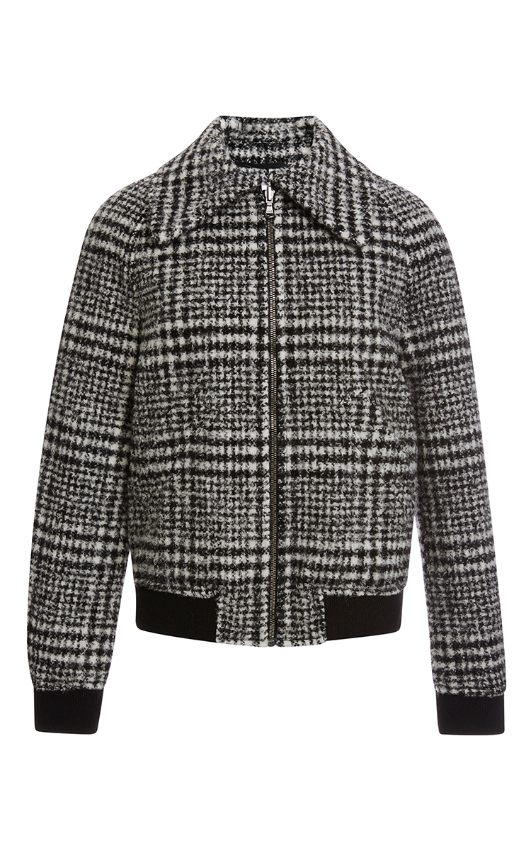 Lyst Carven Plaid Wool Bomber Jacket In White