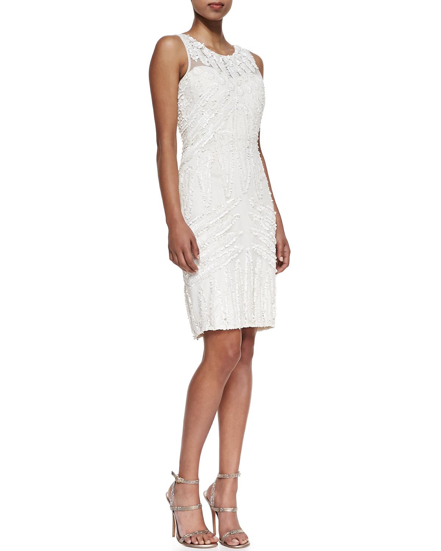Lyst - Rachel Gilbert Beaded Silk Cocktail Dress in White